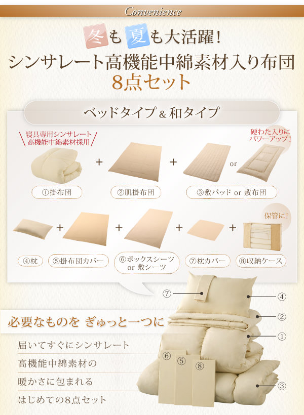 シンサレート高機能中綿素材入り布団8点セット