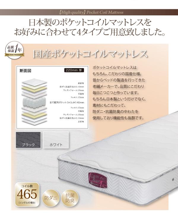 日本製のポケットコイルマットレス4タイプご用意しました。