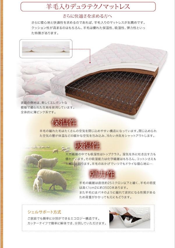 羊毛入りデュラテクノマットレス詳細