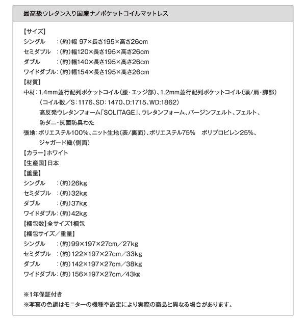 最高級ウレタン入り国産ポケットコイルマットレス詳細