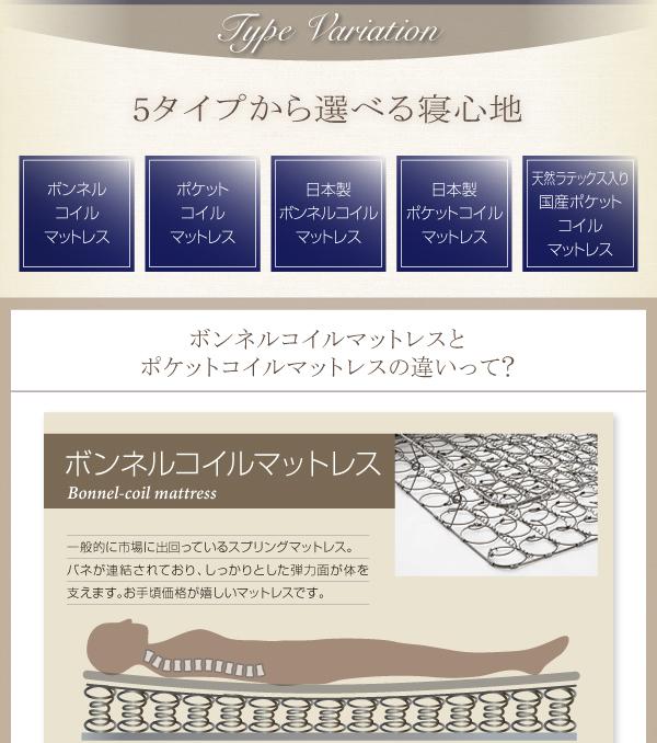 5つのタイプから選べる寝心地