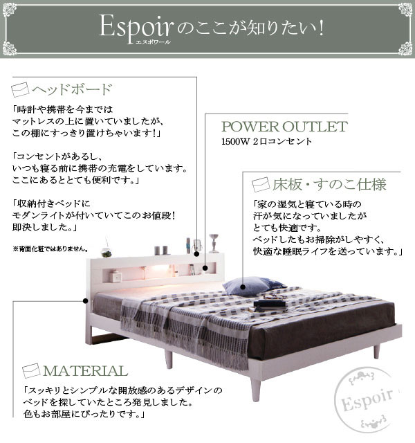 デザインベッド【Espoir】エスポワールのここがもっと知りたい!