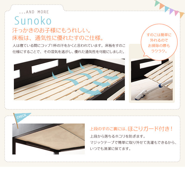 床板はすのこ仕様、ほこりガード付き