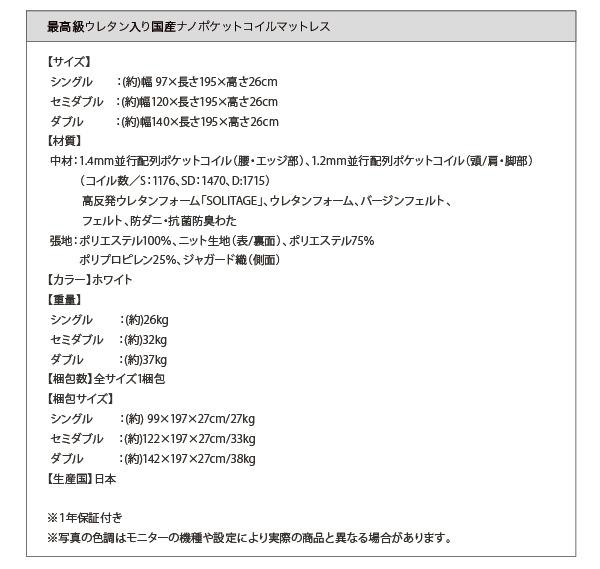 最高級ウレタン入り国産ナノポケットコイルマットレス詳細