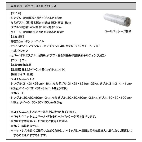 国産カバーポケットコイルマットレス詳細