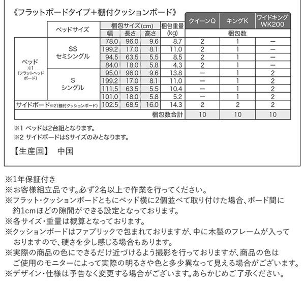 クッションボード連結式ローベッド【Delanna】デランナ ベッドフレームのみ フラットタイプ+棚付クッション クイーン(SS×2)