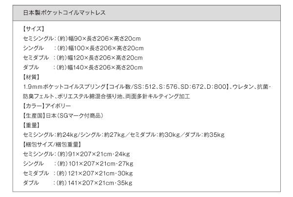日本製ポケットコイルマットレス詳細