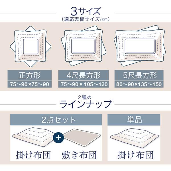 3サイズ(適応天板サイズ/cm) 2種のラインナップ