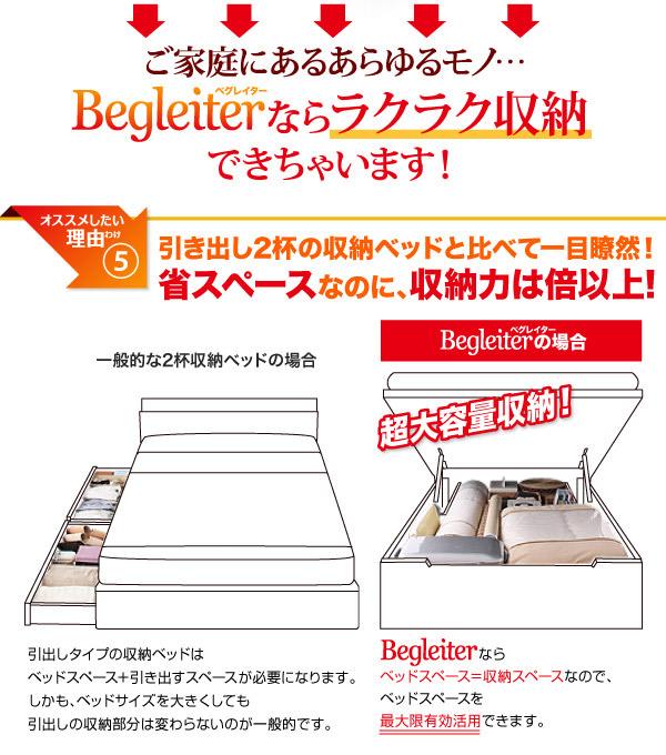国産すのこ跳ね上げベッド【Begleiter】ベグレイターなら収納可能