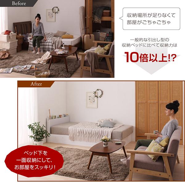 一般的な引出し型の収納ベッドに比べて収納力は10倍以上?
