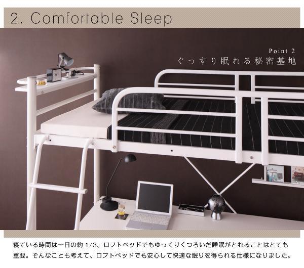 ロフトベッドでも安心して快適な眠りを得られる仕様になりました。
