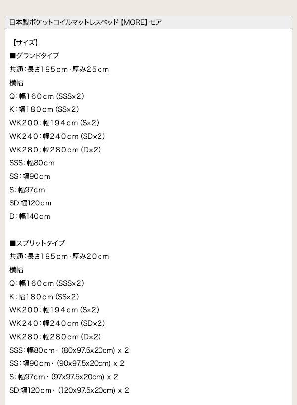 日本製ポケットコイルマットレスベッド【MORE】モア詳細