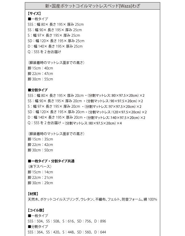 国産ポケットコイルマットレスベッド【Waza】ワザ詳細1
