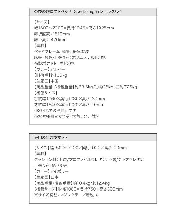 ロフトベッド【Scelta-high】シェルタハイ詳細