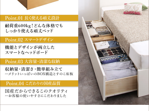 収納付きベッド【Rhino】ライノ特徴