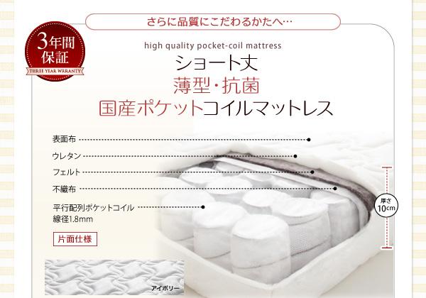 ショート丈薄型・抗菌国際ポケットコイルマットレス