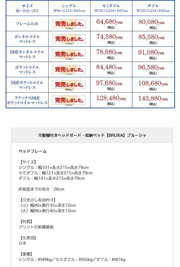 収納付きベッド【BRUXA】ブルーシャ詳細