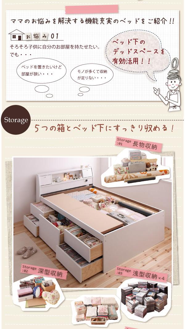 5つの箱とベッド下にすっきり収める!
