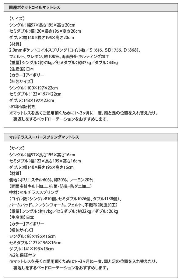 国産ポケット・マルチラスマットレス詳細
