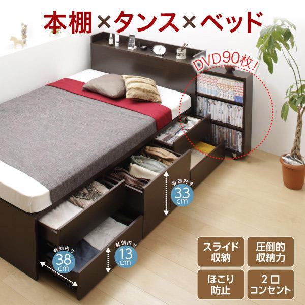 タイプが選べる大容量収納付きベッド【Select-IN】セレクトイン ベッドフレームのみ チェスト収納 セミシングル