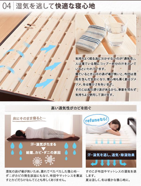 湿気を逃して快適な寝心地
