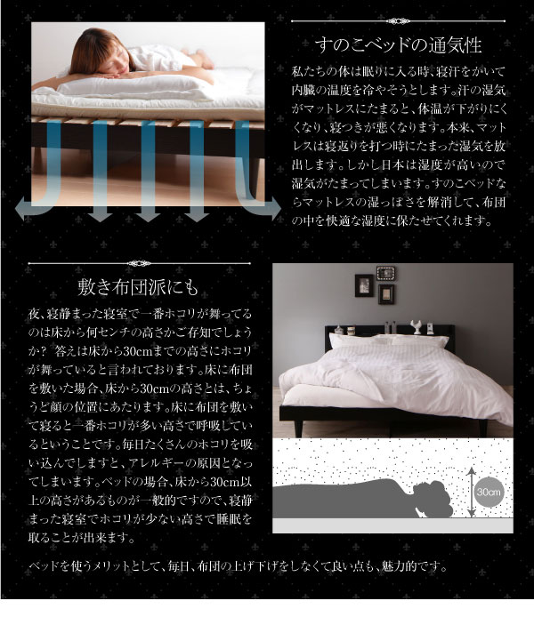 すのこベッドの通気性