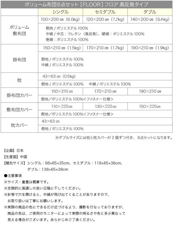 ボリューム布団6点セット【FLOOR】フロア 高反発タイプ詳細