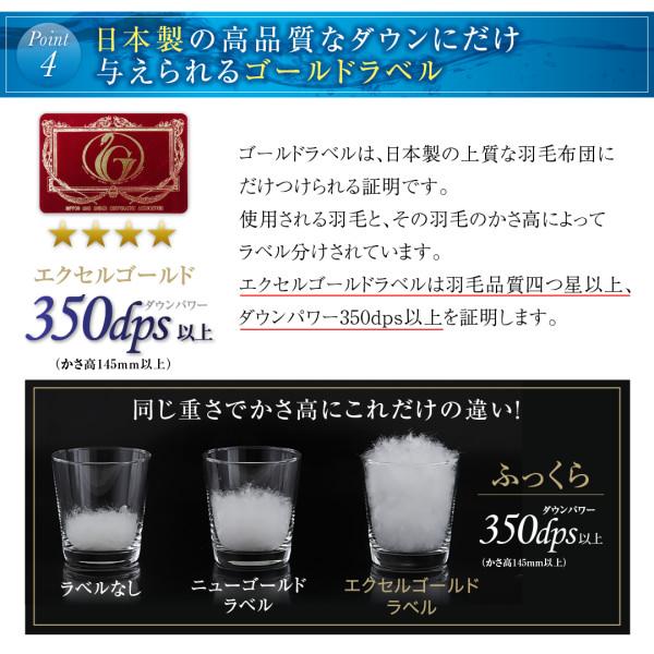 日本製の高品質なダウン、ゴールドラベル